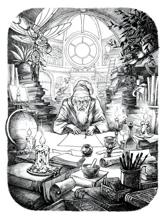 Magicien à l'étude